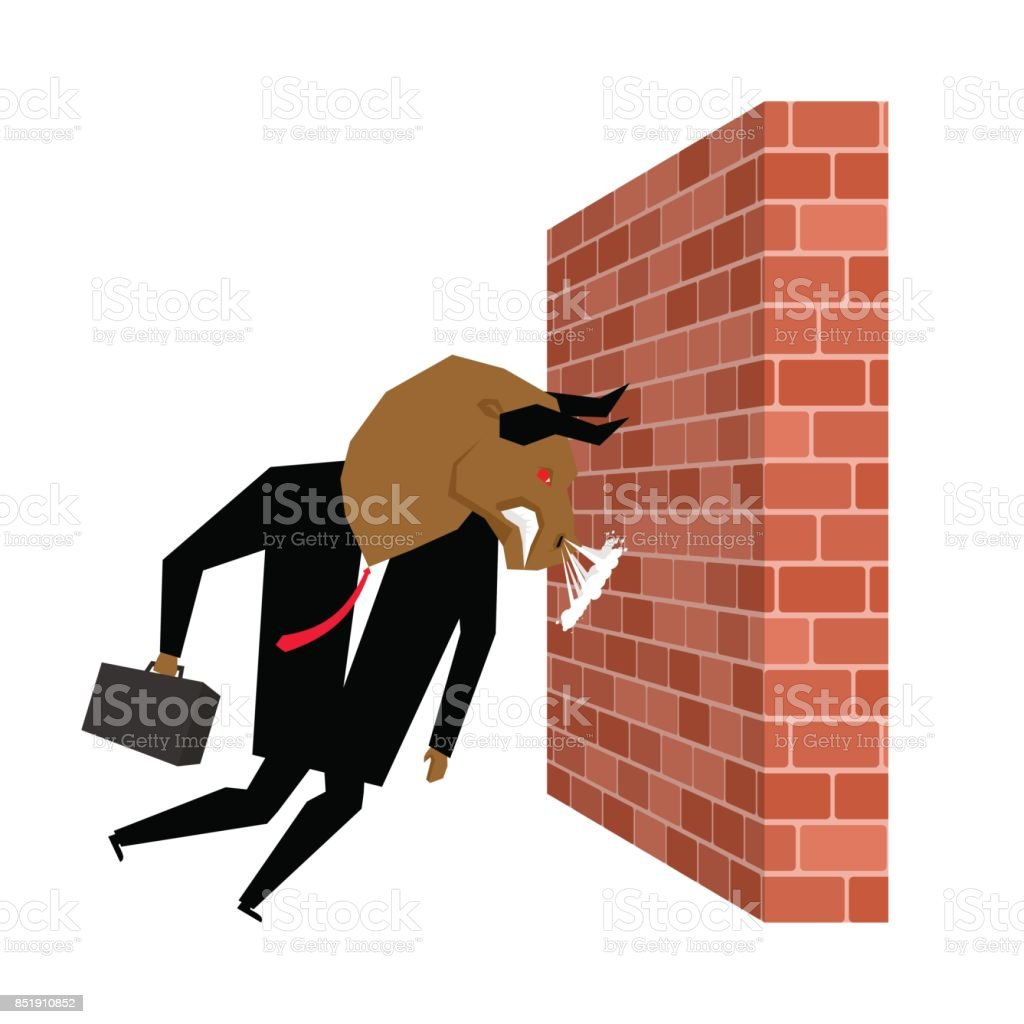 Businessman Bull is destroying brick wall. Overcoming obstacles. Vector illustration vector art illustration