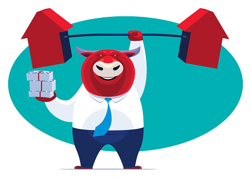 businessman bull lifting arrows barbell and holding stack of money notes