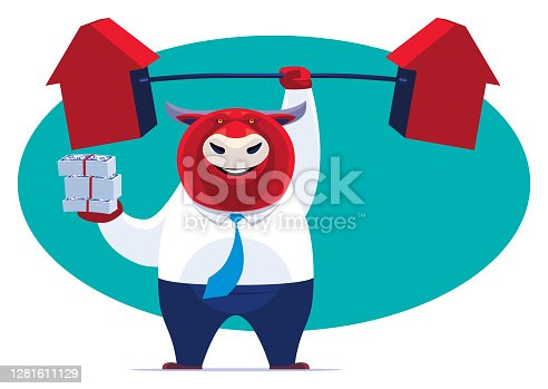 vector illustration of businessman bull lifting arrows barbell and holding stack of money notes