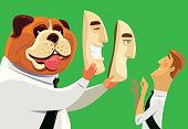vector illustration of businessman bulldog hold mask and facing to man