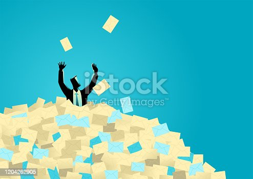 Business illustration of  businessman buried in letters, spam, message, email, junk mail concept