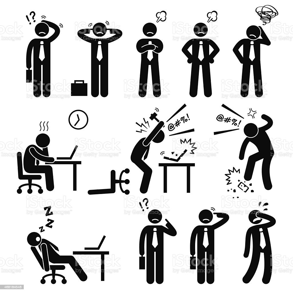 Businessman Business Man Stress Pressure Workplace Stick Figure Pictogram Icon vector art illustration