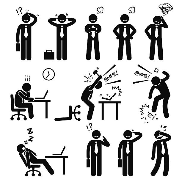 Businessman Business Man Stress Pressure Workplace Stick Figure Pictogram Icon A set of human pictogram reprensenting business businessman poses and action of a stressful workplace. The businessman is confuse, sad, angry, and fed up with his works. displeased stock illustrations