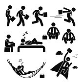 A set of human pictogram reprensenting business businessman poses and action of standing, walking, running, dashing, sitting, sleeping, squatting, resting relaxing on hammock, and flying up to the sky.