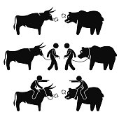 Businessman Business Man with Bull Pictogram