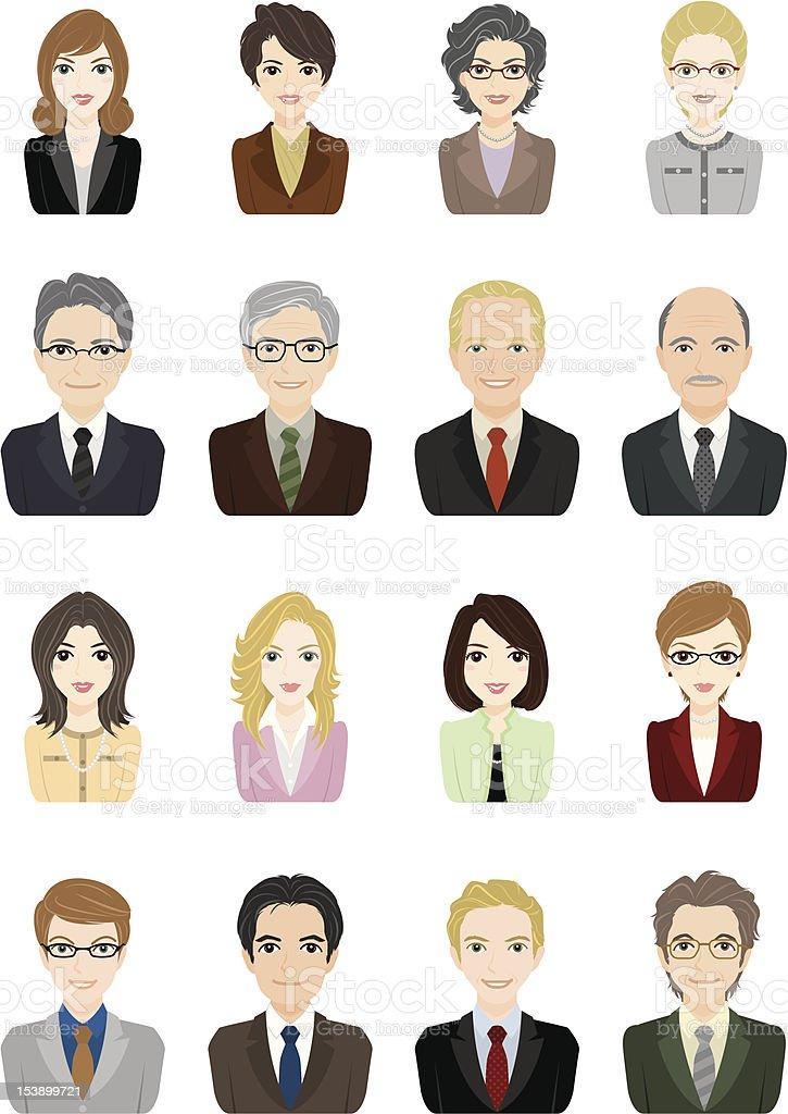 Businessman / Businesswoman / Face vector art illustration
