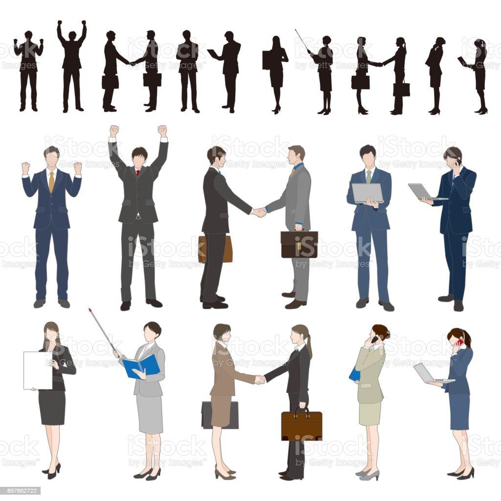 Empresário, empresária - ilustração de arte em vetor
