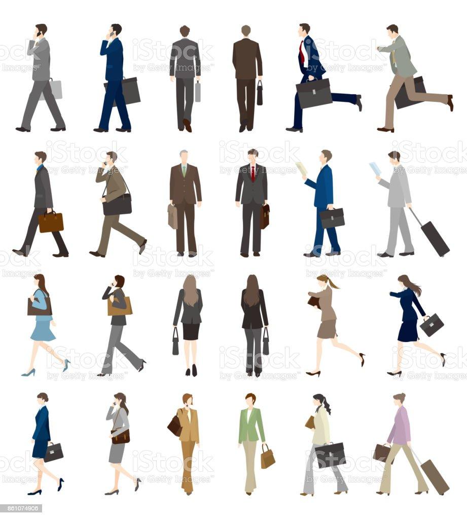 Businessman, Businesswoman, Walk, vector art illustration