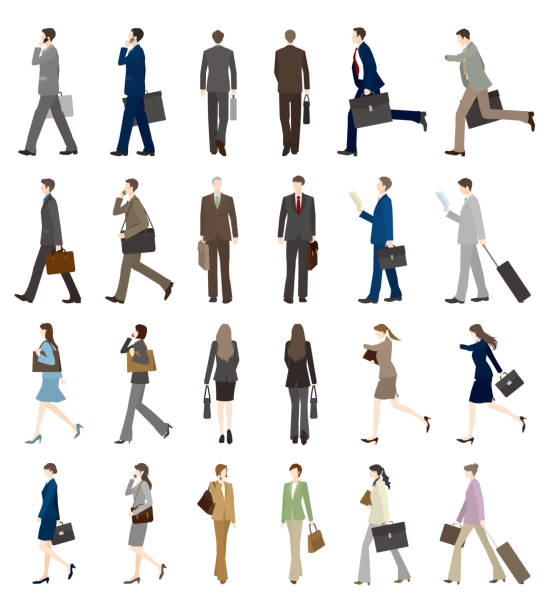 illustrazioni stock, clip art, cartoni animati e icone di tendenza di businessman, businesswoman, walk, - business man