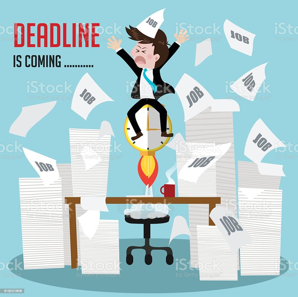 businessman busy work with deadline is coming soon. vector art illustration