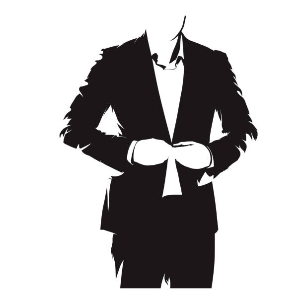 Businessman buttoning his suit, formal dress. Isolated vector silhouette. Elegant people Businessman buttoning his suit, formal dress. Isolated vector silhouette. Elegant people tuxedo stock illustrations