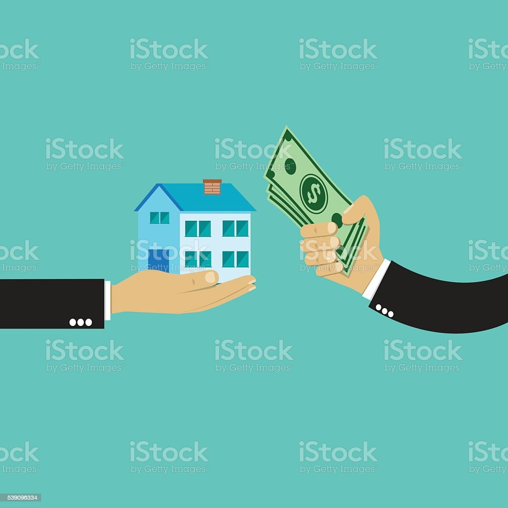 Businessman buy House - vector illustration. vector art illustration
