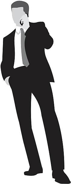 businessman by phone talking vector art illustration