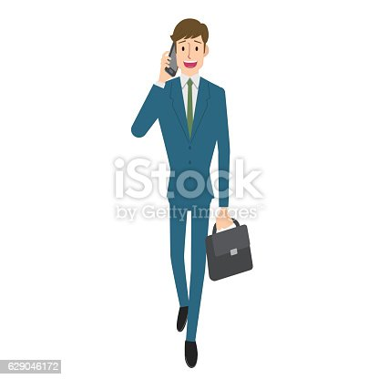 Businessman calling on smartphone.