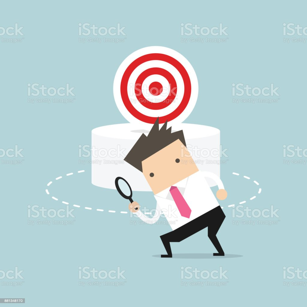Businessman can not find the target. Business concept vector art illustration