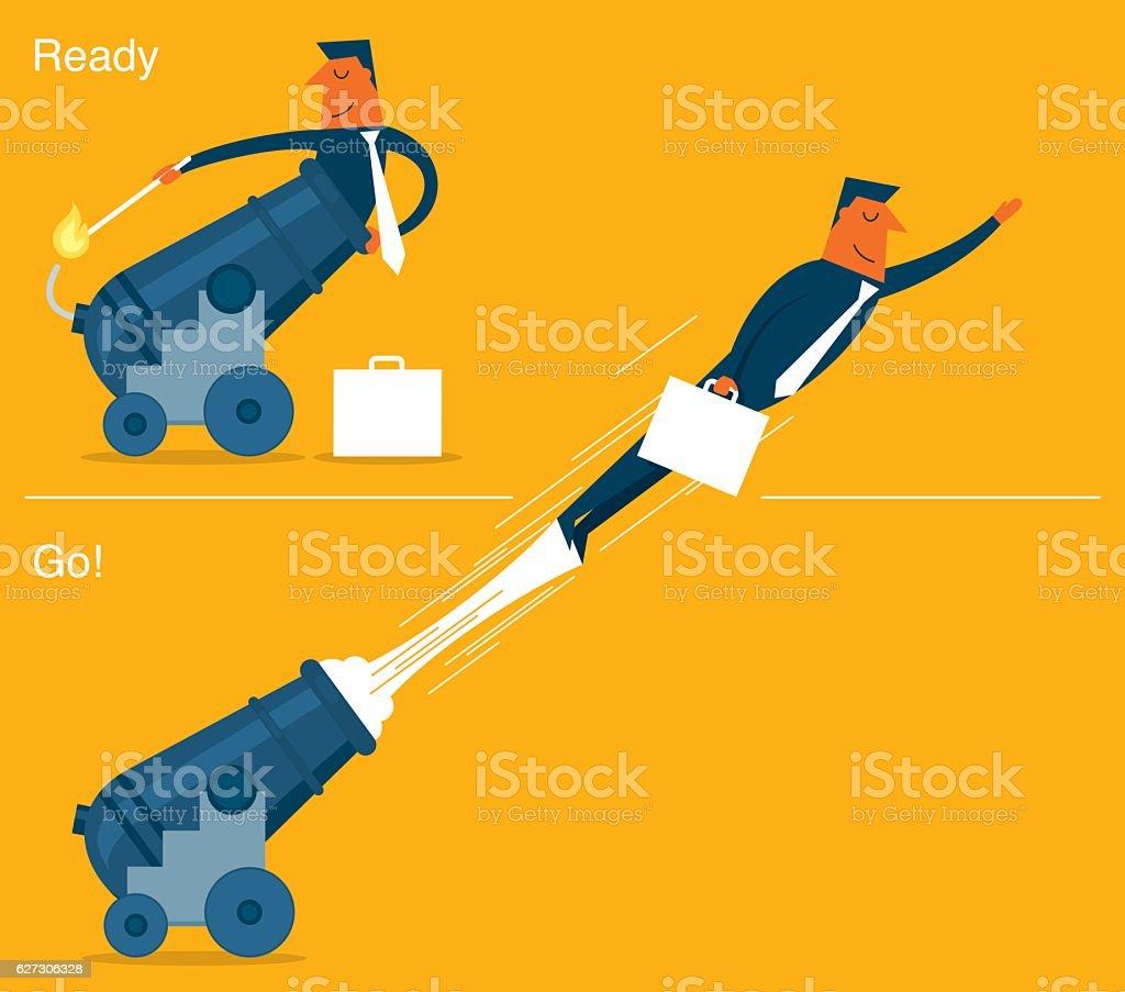 Businessman Cannonball vector art illustration
