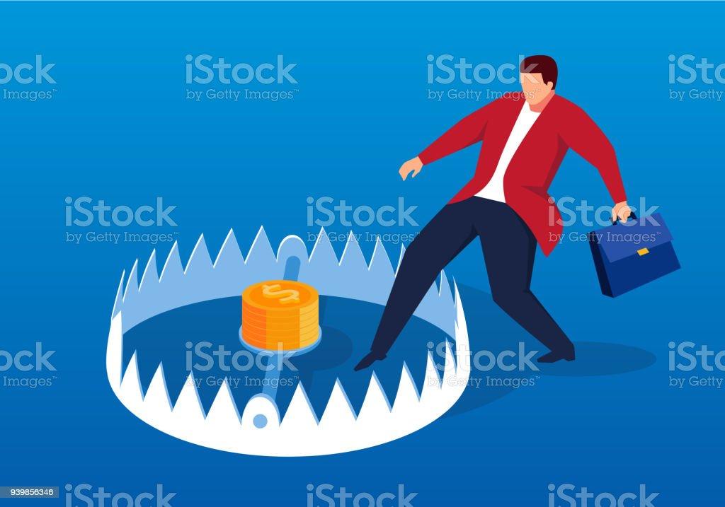 Businessman carefully enters mouse trap vector art illustration