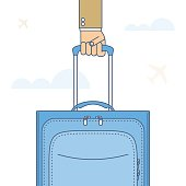 Businessman carries a baggage by the handle. Flat line illustration