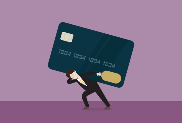 Businessman carries a credit card Debt, Shopping, Banking, Business, Money, Shopaholic, Black friday debt ceiling stock illustrations