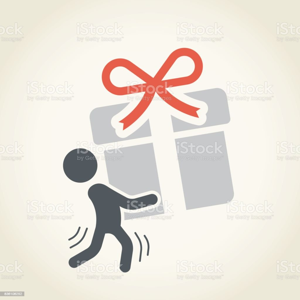 Businessman carrying a gift vector art illustration