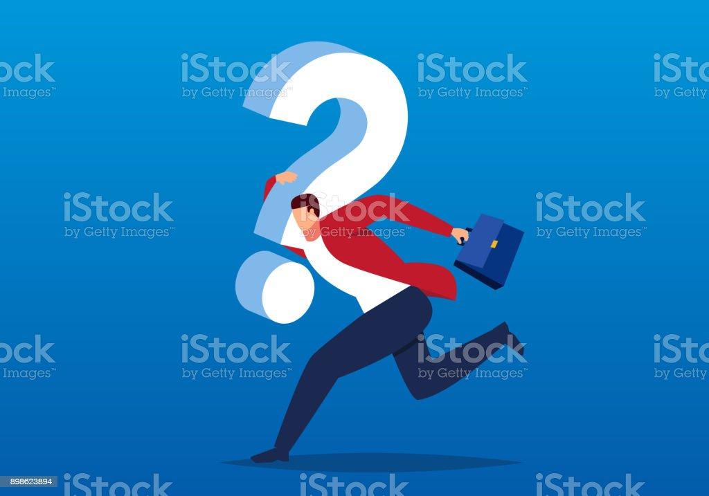 Homme d'affaires transportant un énorme point d'interrogation pour trouver des moyens de résoudre le problème, le concept des difficultés de l'entreprise - Illustration vectorielle