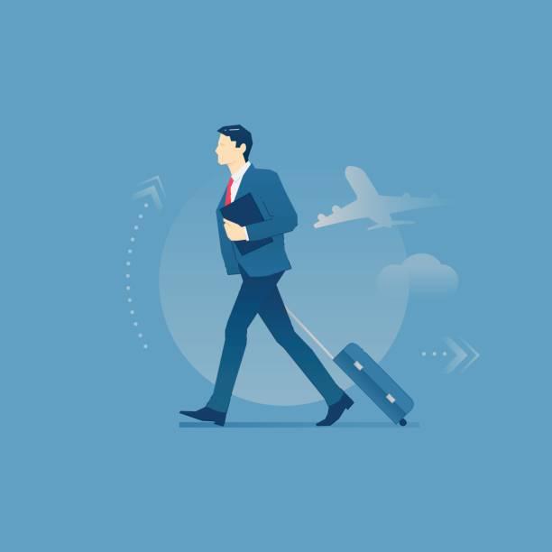 ilustraciones, imágenes clip art, dibujos animados e iconos de stock de hombre de negocios lleva un equipaje en viaje de negocios - viaje de negocios