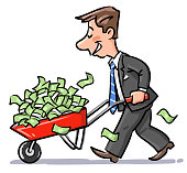 Businessman Carrying A Wheelbarrow Full Of Money