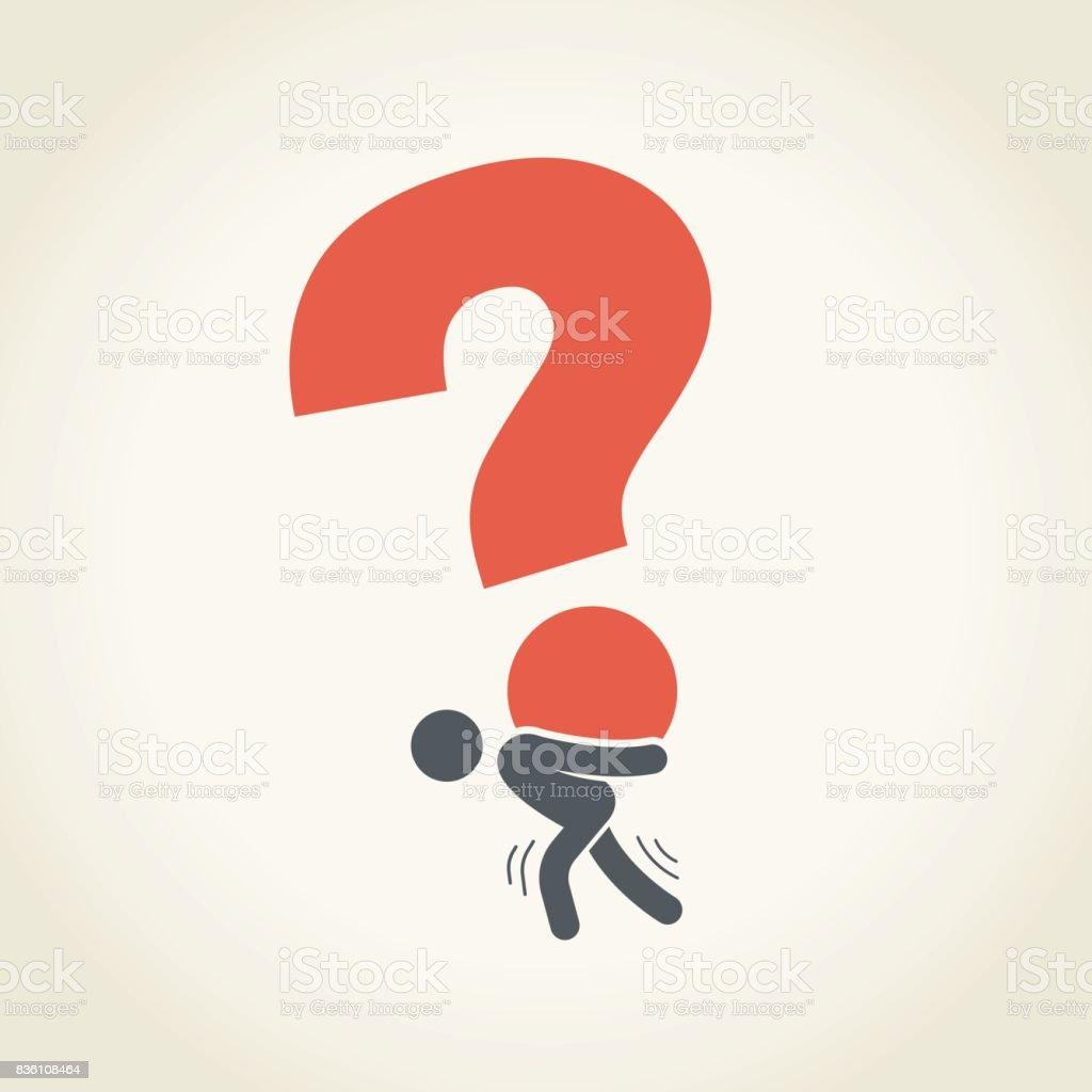 Homme d'affaires transport gros point d'interrogation - Illustration vectorielle
