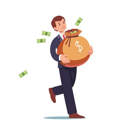Businessman carrying big sack full of cash money