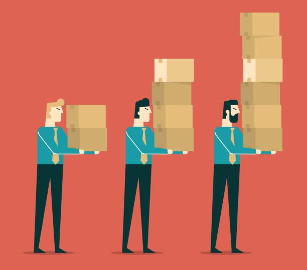 illustrazioni stock, clip art, cartoni animati e icone di tendenza di businessman carrying cardboard boxes - portare