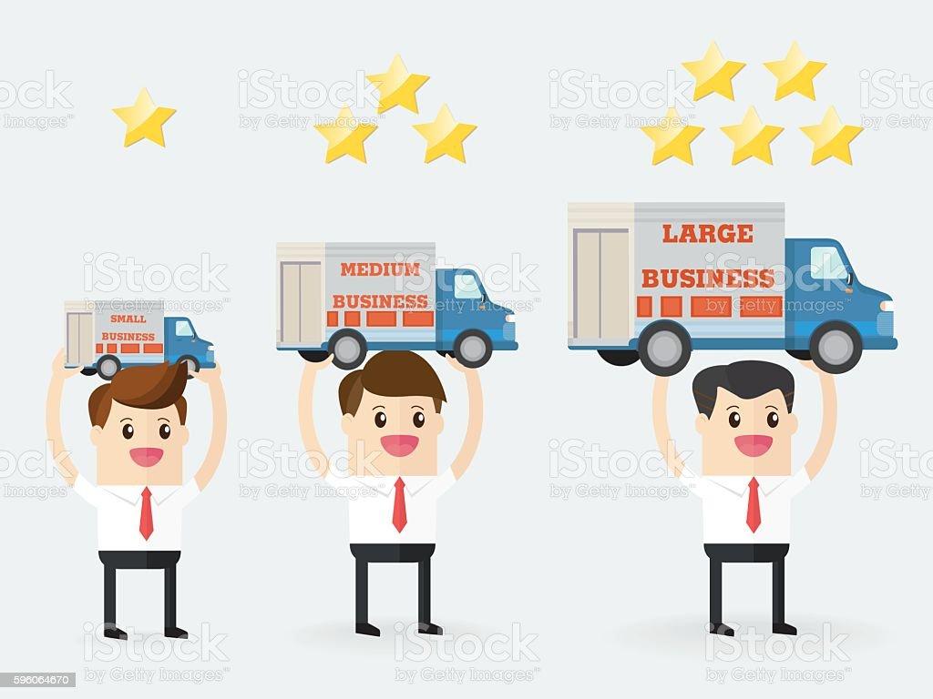 businessman carrying different business size - Illustration vectorielle