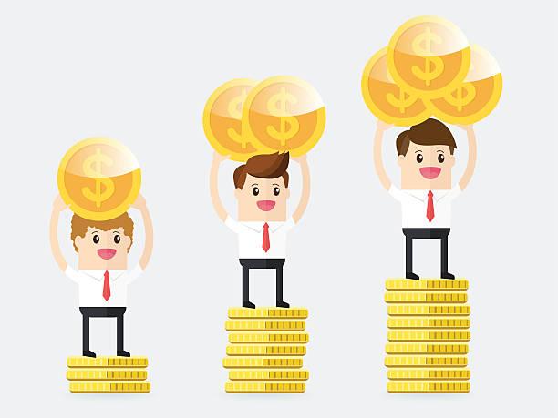 ilustrações de stock, clip art, desenhos animados e ícones de businessman carrying gold coins and standing on pedestal - enjoying wealthy life