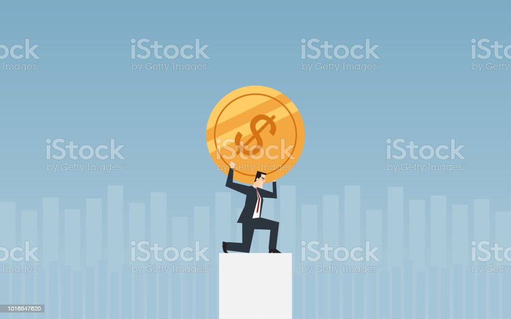 businessman carrying golden dollar coin on shoulder in flat icon design with chart and blue color background vector art illustration