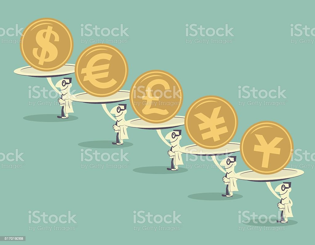 Businessman carrying plate of currency (Dollar, Euro, Pound, Yen, Yuan) vector art illustration