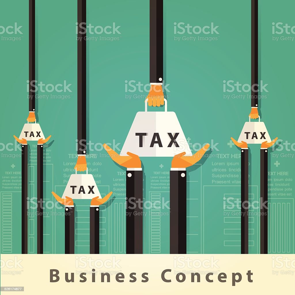 Businessman carrying tax Concept.Vector Design vector art illustration