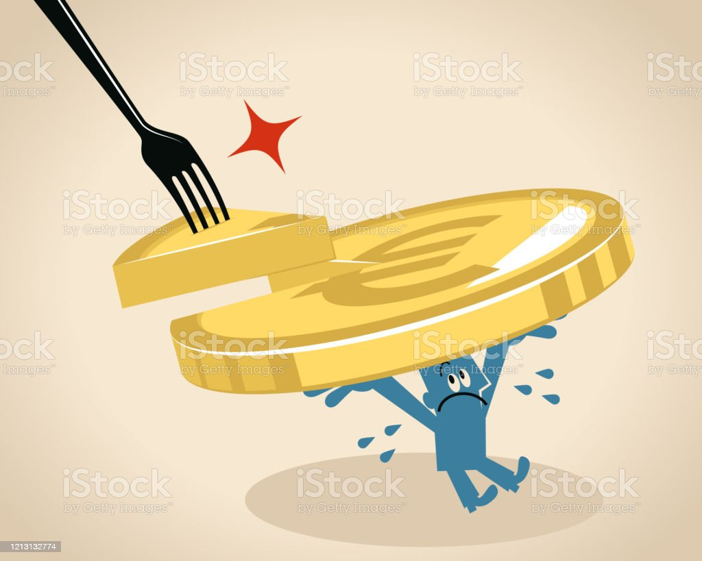 businessman carrys a big euro sign european union currency missing a slice which is stolen by a big fork stock illustration download image now istock https www istockphoto com vector businessman carrys a big euro sign european union currency missing a slice which is gm1213132774 352430252