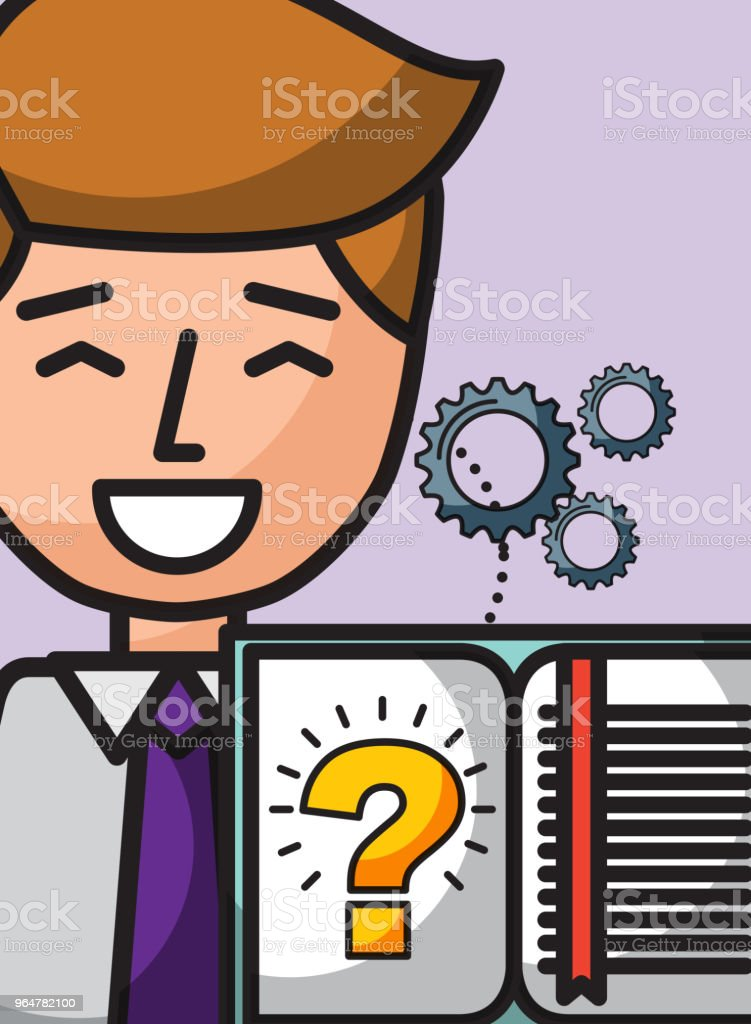 businessman cartoon book learn question solution royalty-free businessman cartoon book learn question solution stock vector art & more images of accuracy
