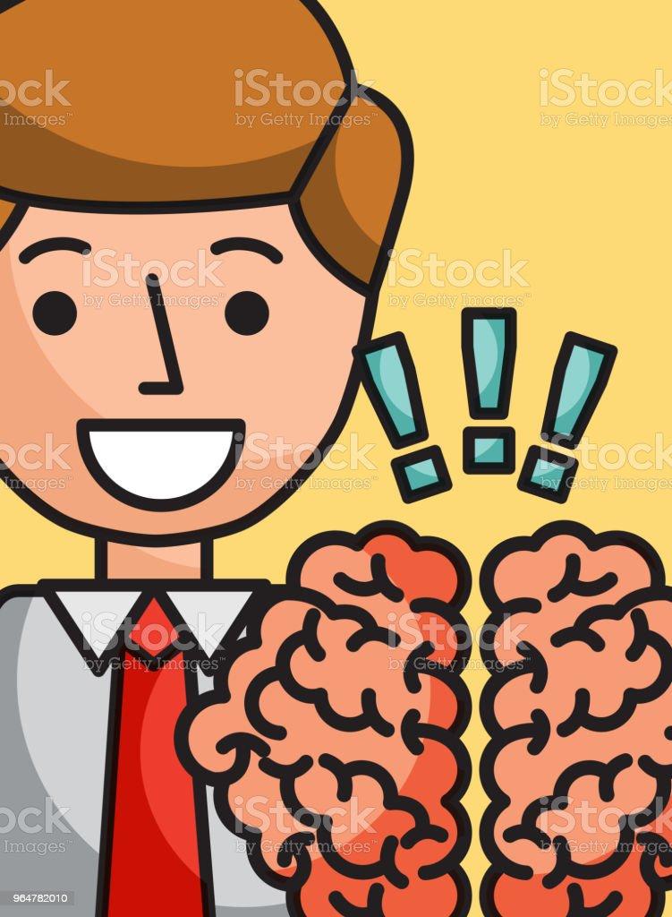 businessman cartoon brain creativity exclamation royalty-free businessman cartoon brain creativity exclamation stock vector art & more images of achievement