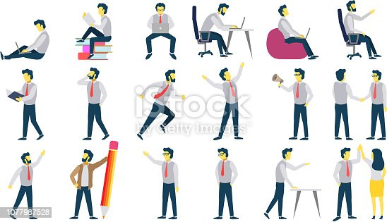 Group of office people in different business situations and poses, showing hand gestures. Vector illustration isolated on white background. Businessman cartoon character icon set.