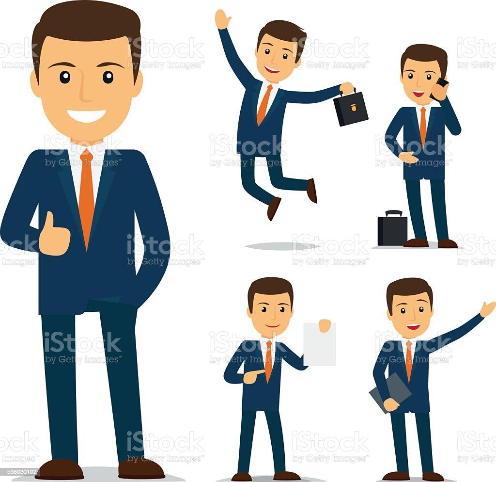 Geschäftsmann cartoon Charakter – Vektorgrafik