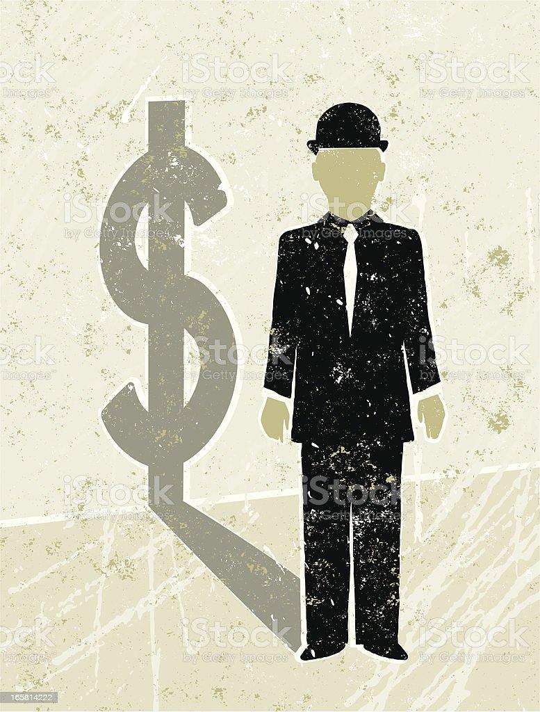 Businessman Casting a  Dollar Shadow royalty-free stock vector art