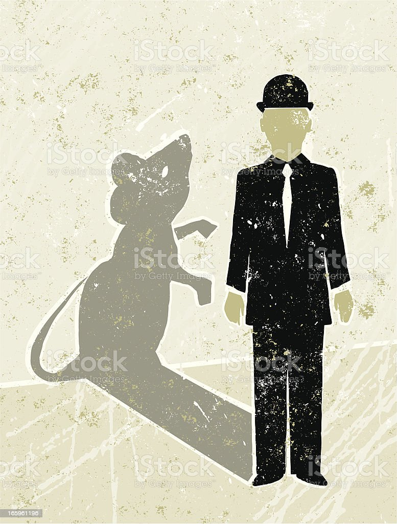 Businessman Casting a Mouse Shadow vector art illustration