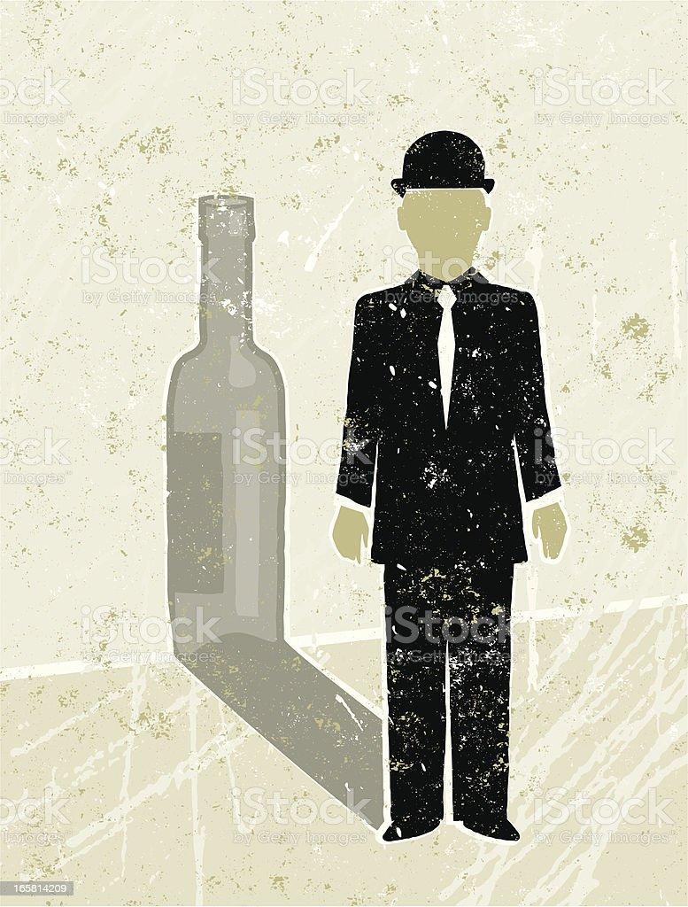 Businessman Casting a  Wine Bottle Shadow vector art illustration