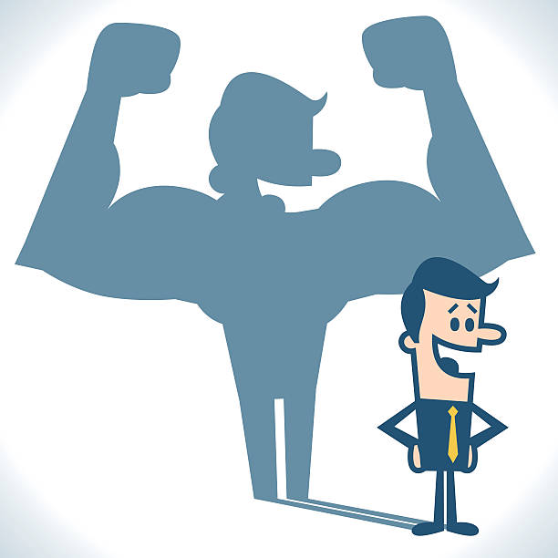 Businessman casting strong man shadow Businessman casting strong man shadow. showing off stock illustrations