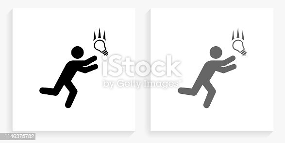 Businessman Catching Idea Black and White Square Icon. This 100% royalty free vector illustration is featuring the square button with a drop shadow and the main icon is depicted in black and in grey for a roll-over effect.