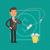 Illustration, businessman catching money on fishing rod, format EPS 8