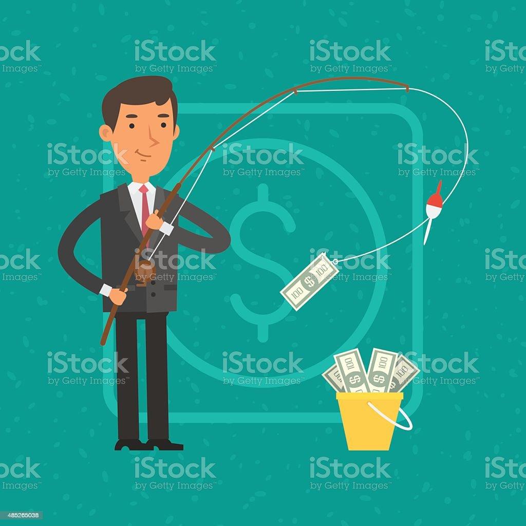 Businessman catching money on fishing rod vector art illustration