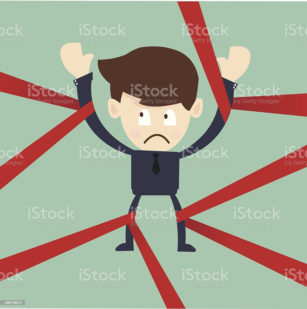 businessman caught in red tape government regulation and obligation in business royalty free businessman