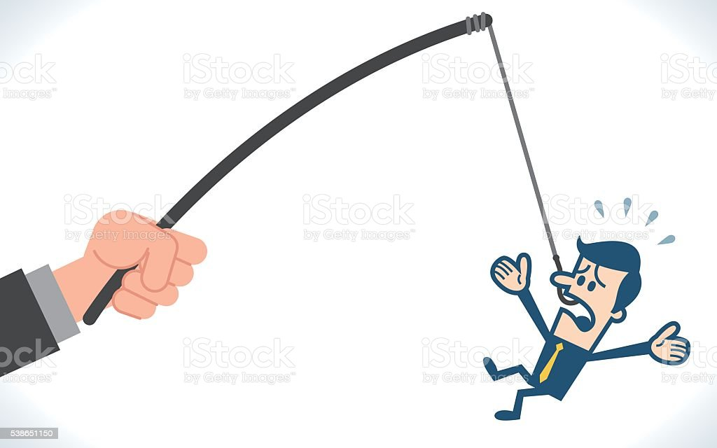 Businessman caught on bait vector art illustration