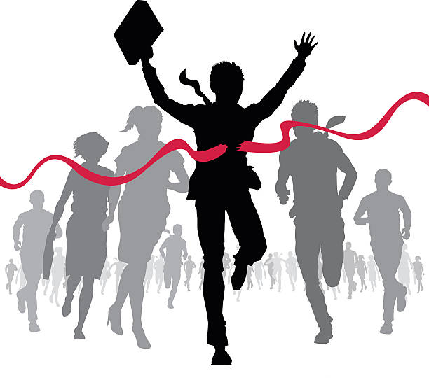 Businessman celebrates at the finish line vector art illustration